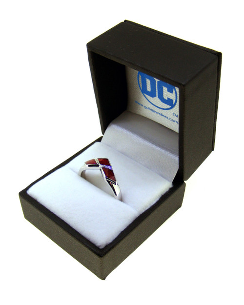 Harley Quinn Silver & Red Enamel Ring