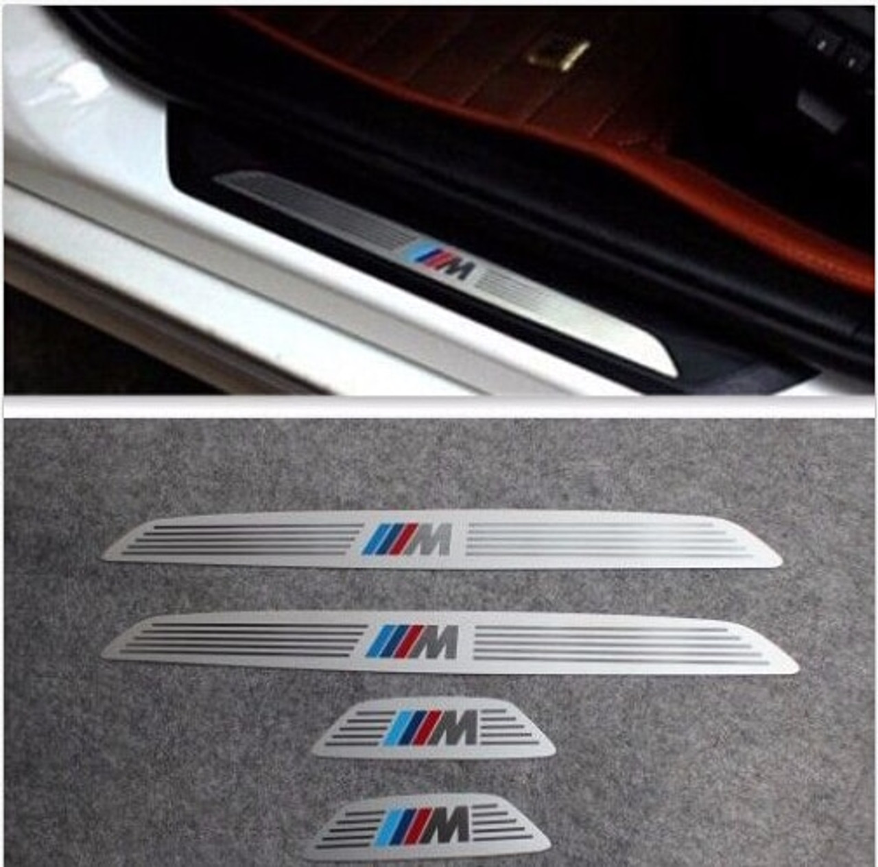 For BMW X1 X3 X5 X6 5//1//3//7 Series 4 DOOR SILL GUARD SCUFF STAINLESS STEEL