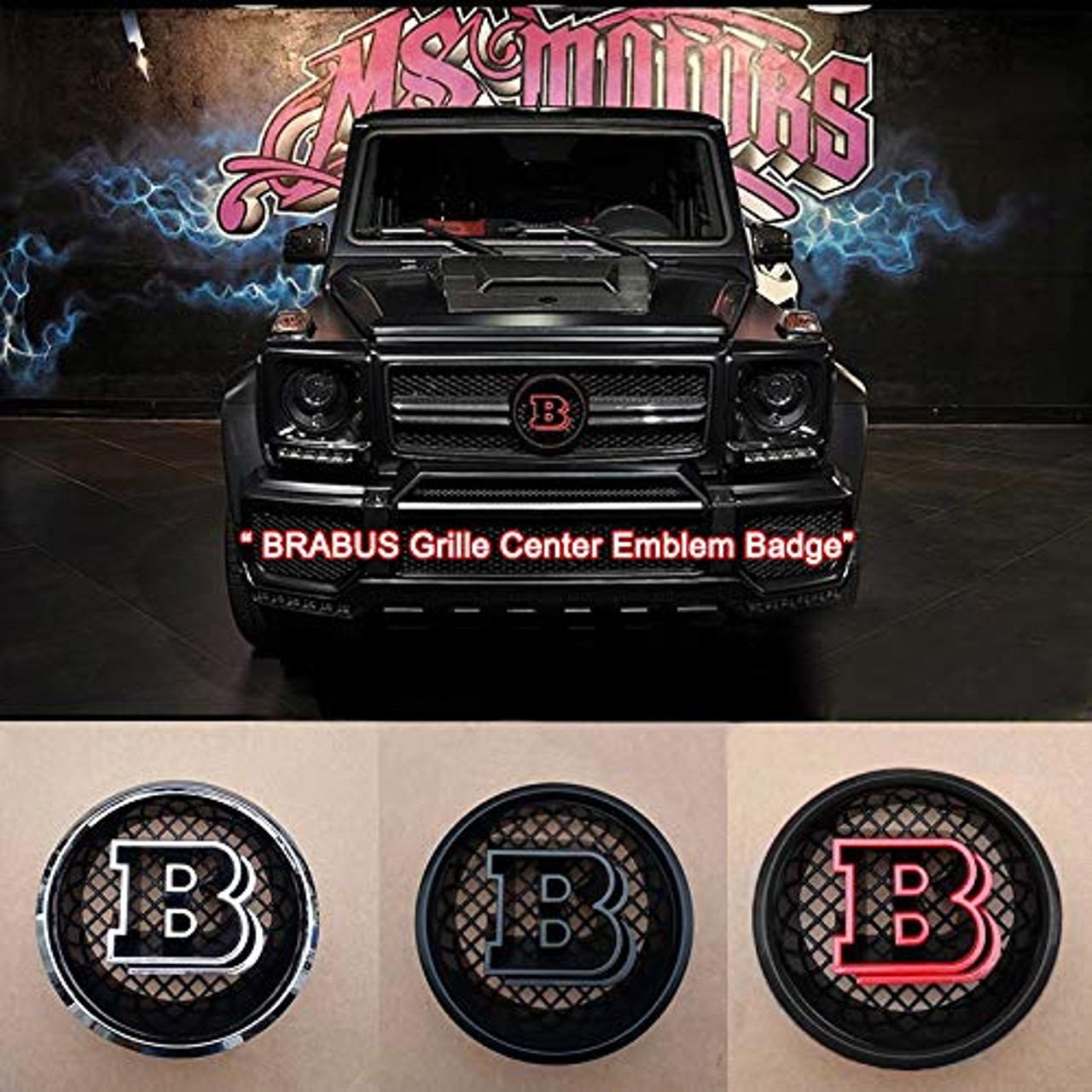 Matte Black Brabus Emblems Badge Decal Stickers Logo for Mercedes Benz,Pack of 2