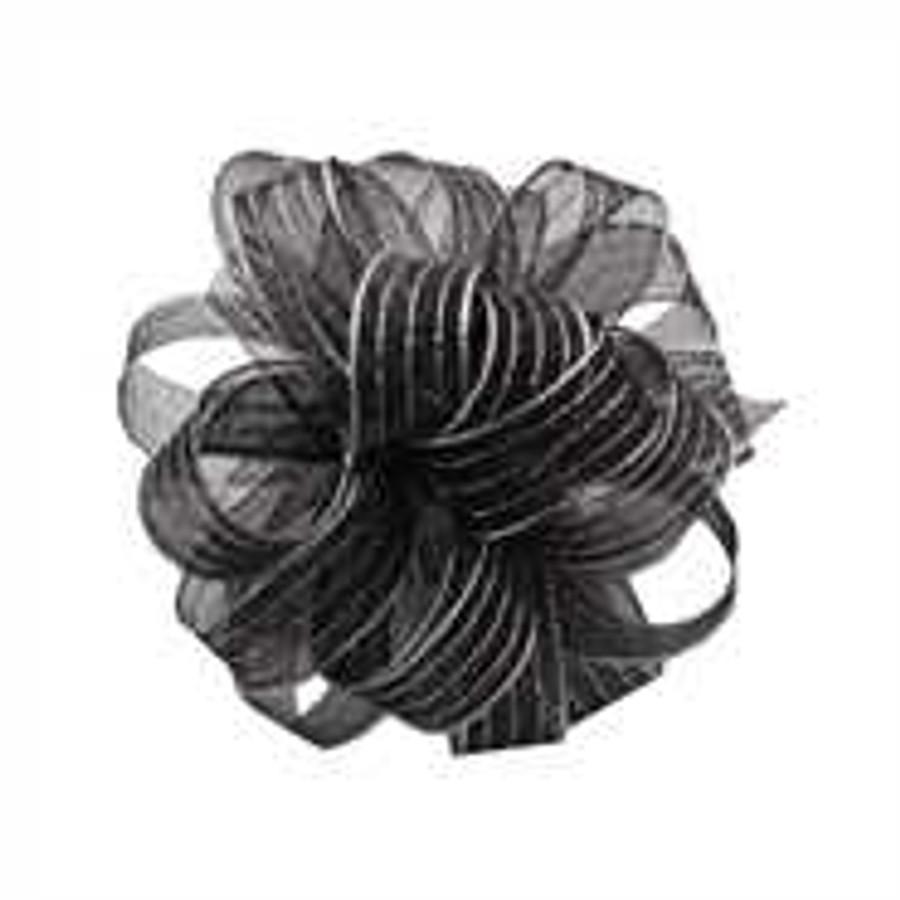 #3 striped chiffon blk/sil 50y