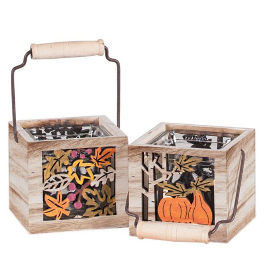 """Fall Harvest 3.25""""x3.25"""" wooden Squares each"""