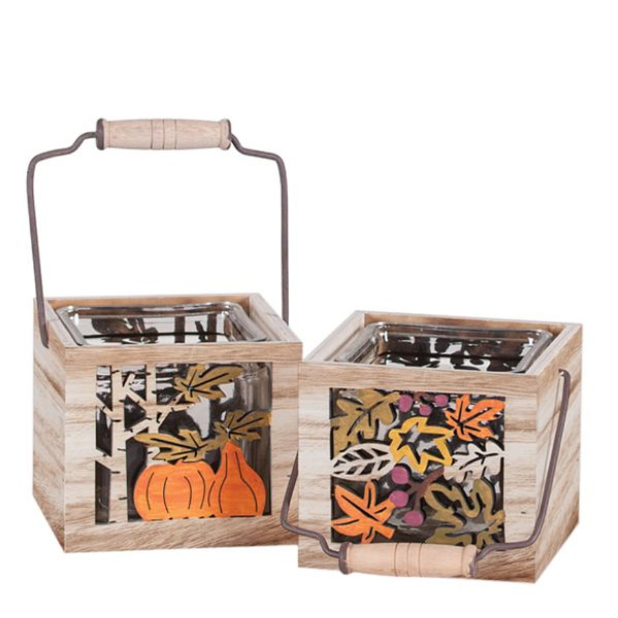 "Fall Harvest 4.25""x4.25"" wooden squares each"