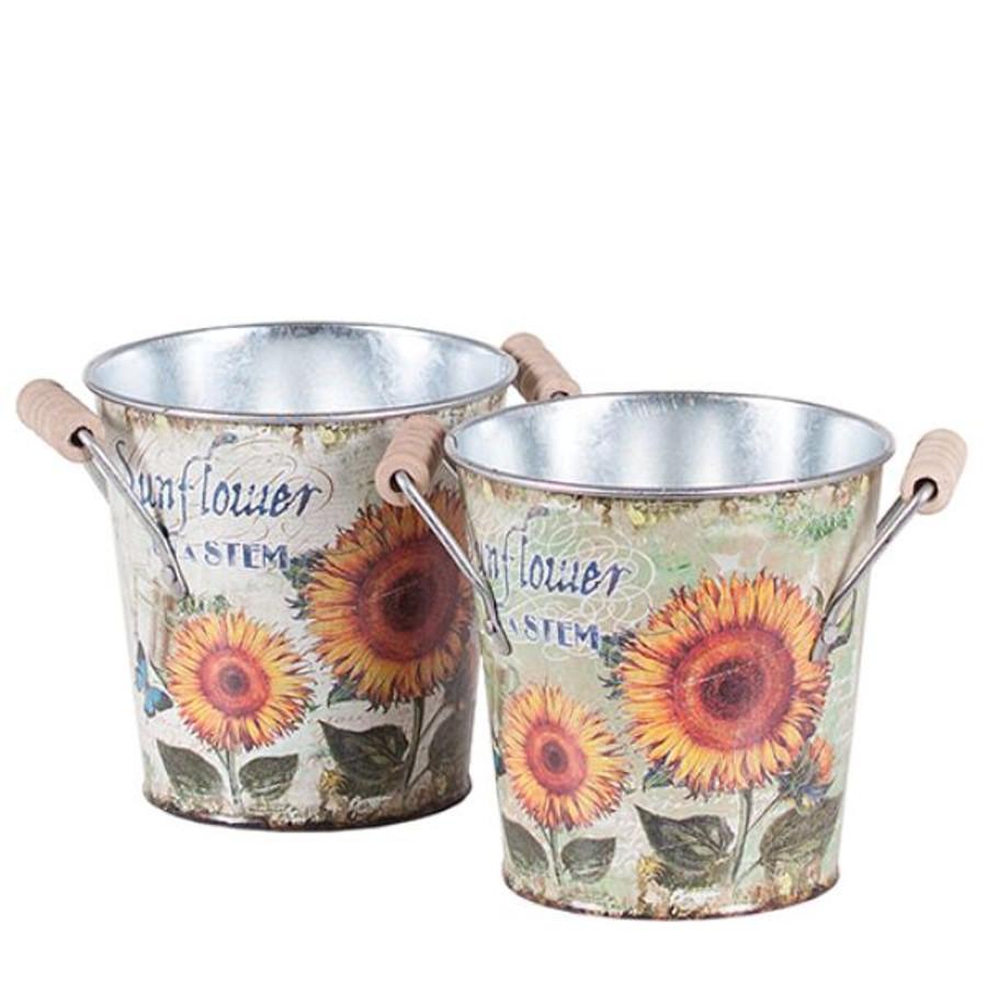 "Fall Vintage Metal Sunflower Tins 4.5"" each"
