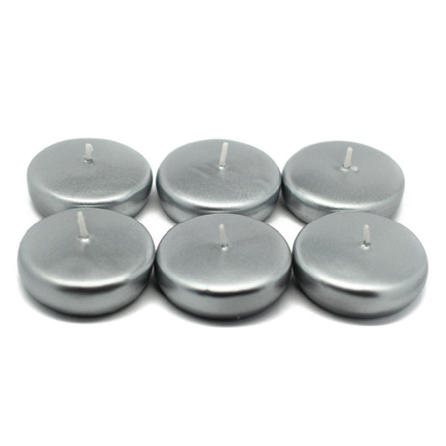 """Floating Candles 2"""" Silver metallic 6pack"""