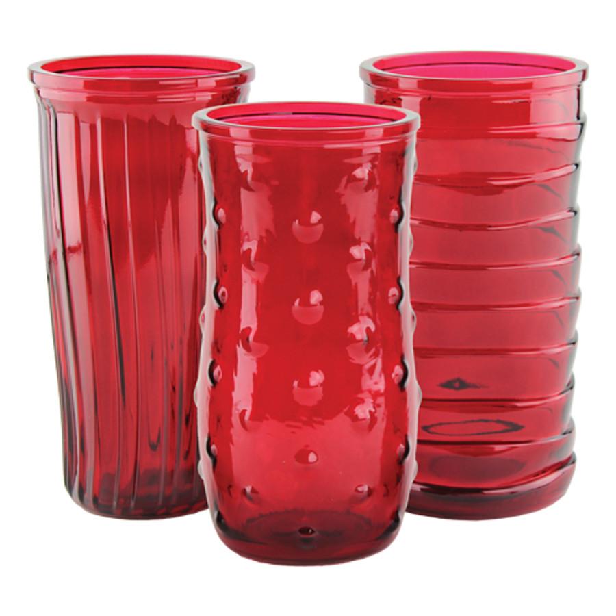 "Asst Rs Vase Ruby 8.5"" 4072 12cs."