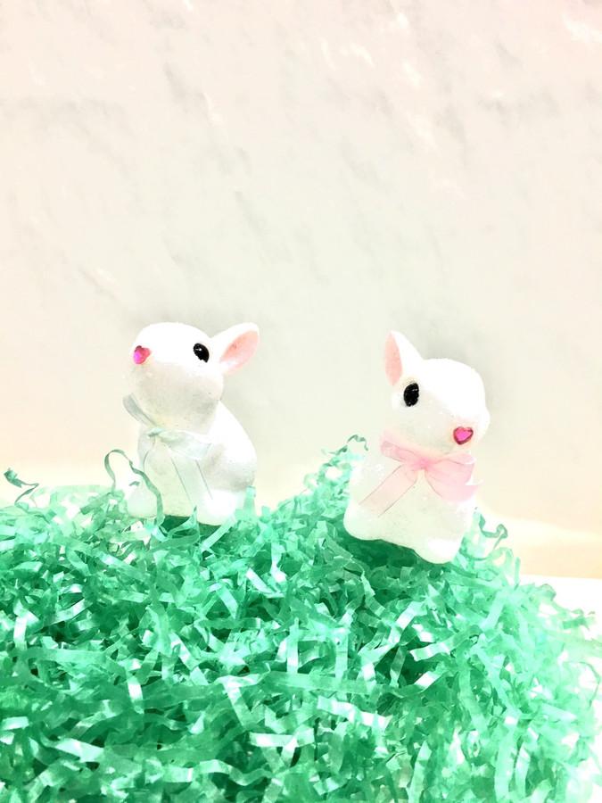 "Easter Glitter Rabbit pick  3"" 1DZ #5542"