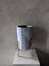Stoneware Vessel with Brass Base