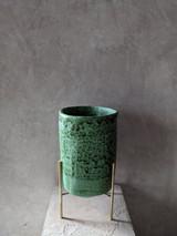 Stoneware Vessel with Brass Base #2
