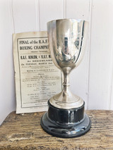 1926 Sterling Silver English Boxing Trophy with Original Program