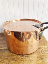 Large Antique English Lidded Copper Pot with Royal Engraving