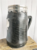 Antique Sterling Silver, Leather and Copper Tankard