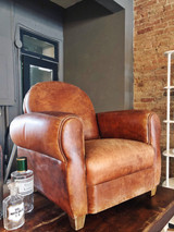 Antique Child's Leather Club Chair