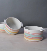 Taffy Tri-color Bowl with Handles