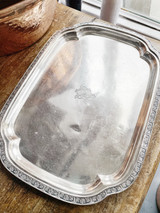 Antique Silver Plated Serving Tray from Hotel Deshler in Columbus OH