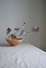Turned Wood Ikebana Dried Flower Bowl