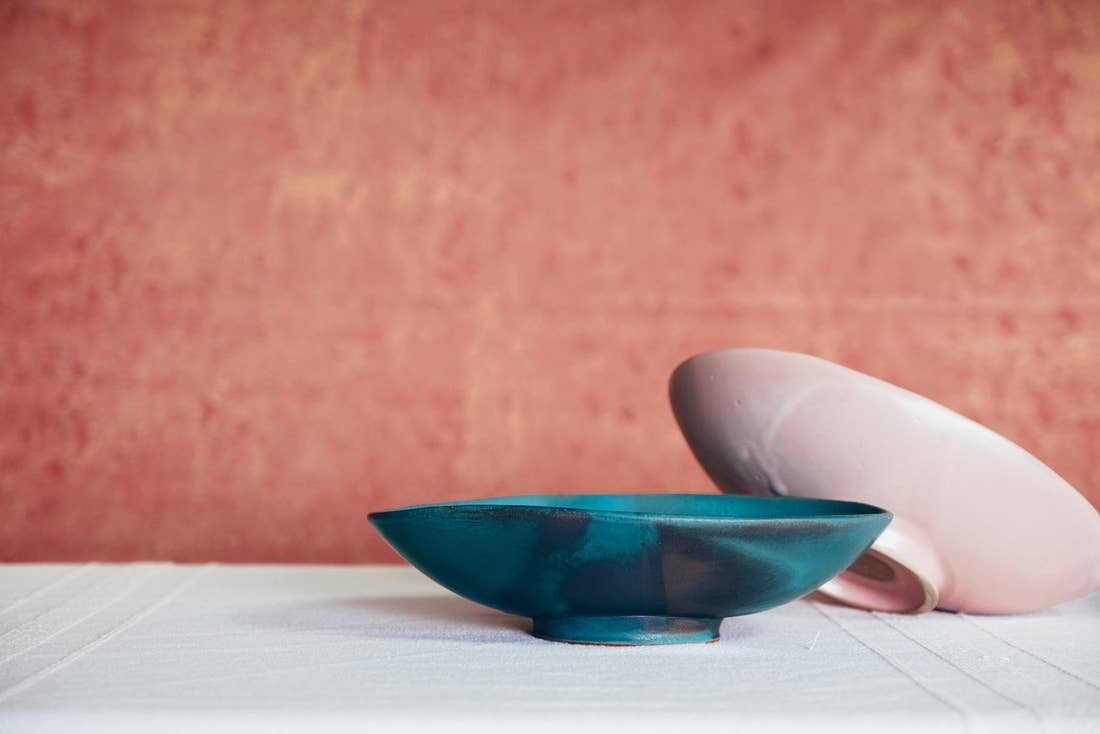 Footed Oval Stoneware Server