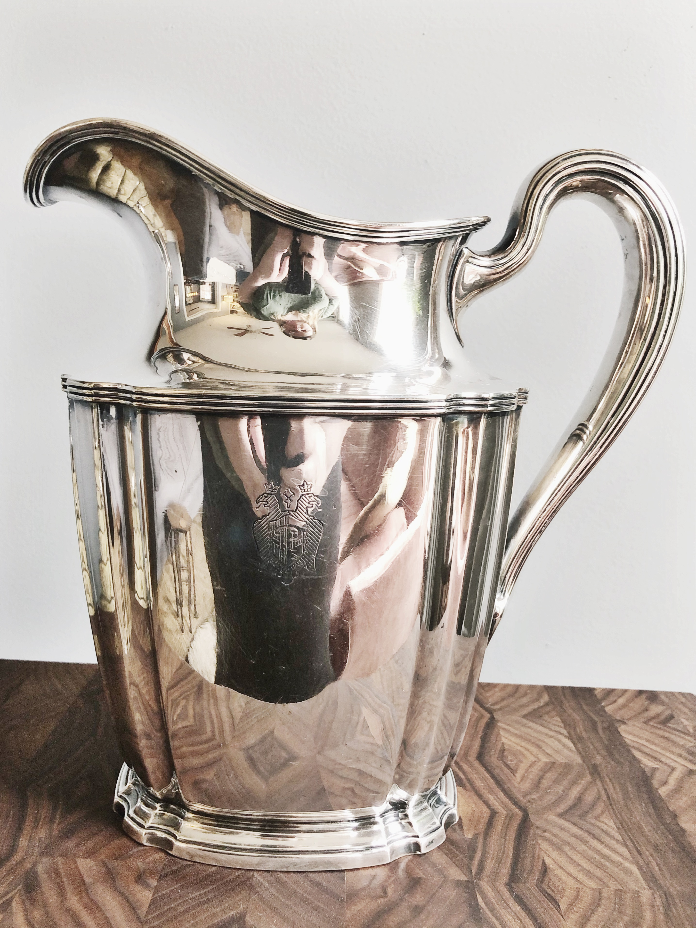 1909 Silver Plated Water Pitcher from The Palace Hotel in San Francisco
