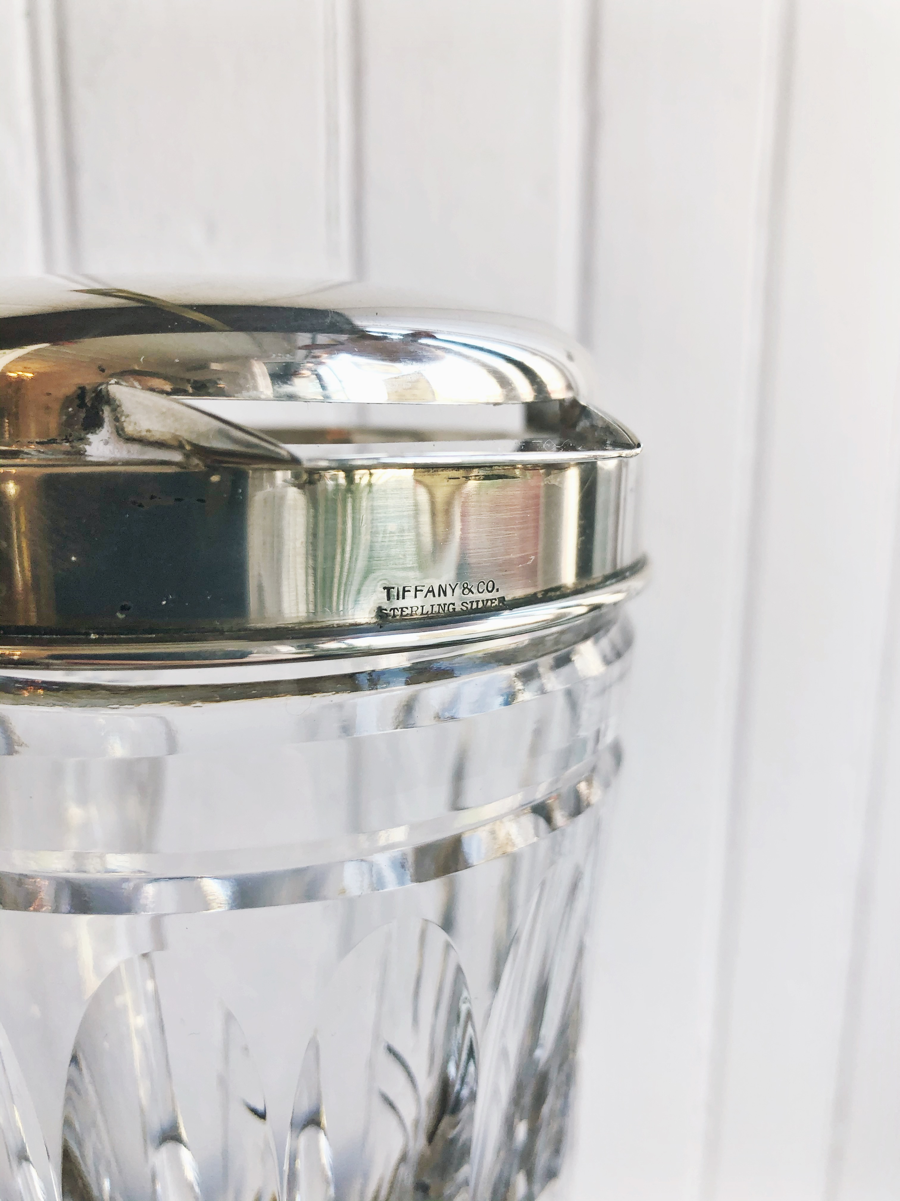 1920s Tiffany & Co Sterling and Crystal Cocktail Pitcher