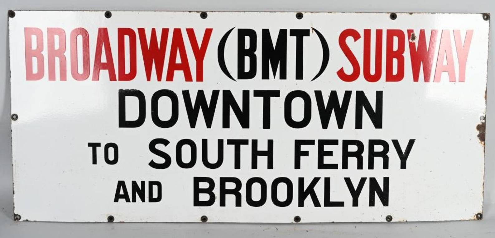 1920s NYC Broadway Subway to Brooklyn & Downtown Porcelain Sign