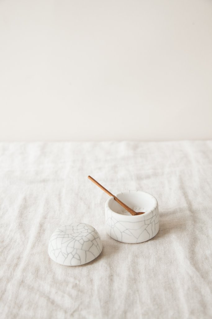 Crackle Salt Box & Spoon