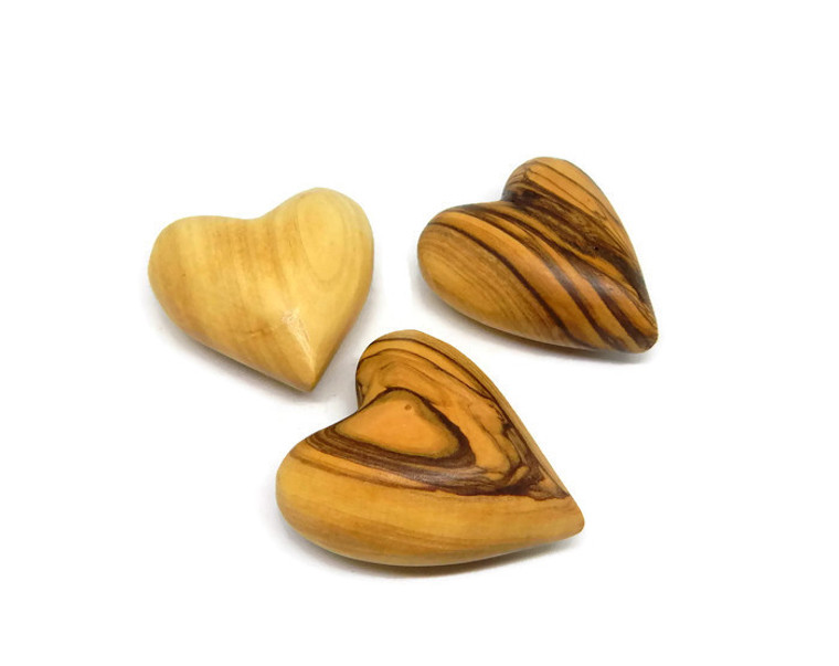 Small Olive Wood Comfort Hearts  | Solid Carved Ornaments Table Decoration - Choose Quantity