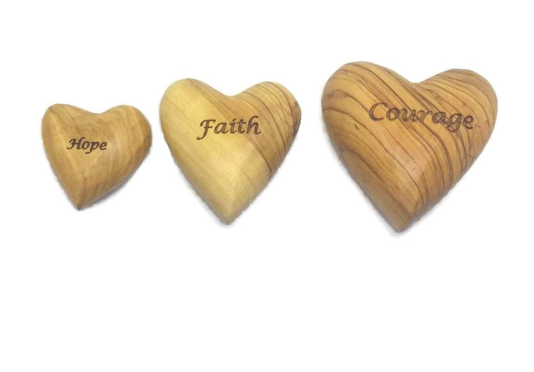 3 Olive Wood Solid Hearts Engraved Hope Faith Courage