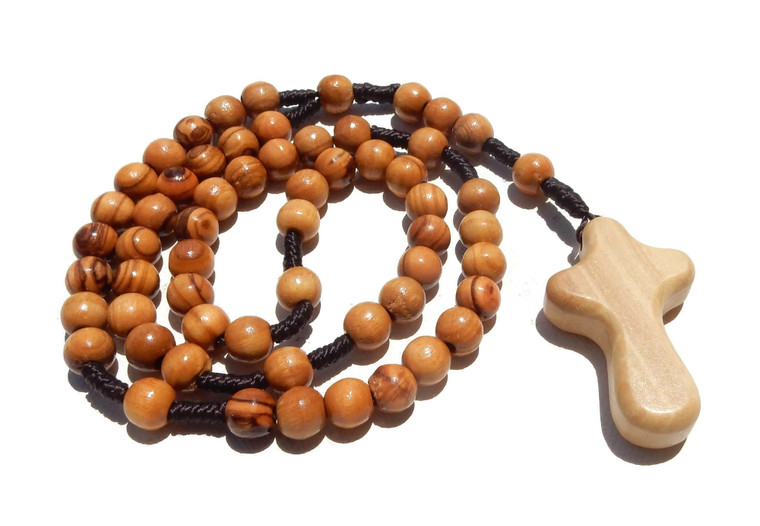 Olive Wood Rope Rosary with Comfort Cross