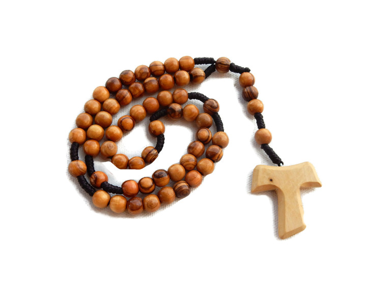 Olive Wood Rope Rosary with Tao/Tau St. Francis Cross