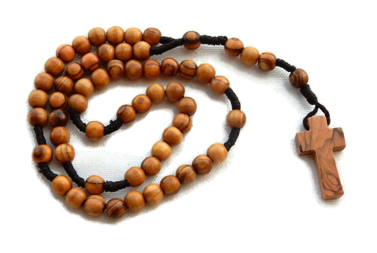 Olive Wood Rope Rosary with Small Cross
