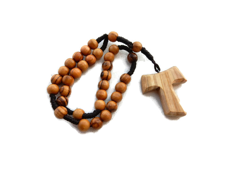 Olive Wood Anglican Rope Rosary with Tao/Tau St. Francis Cross – Premium Quality – Genuine HJW - Exclusive Design