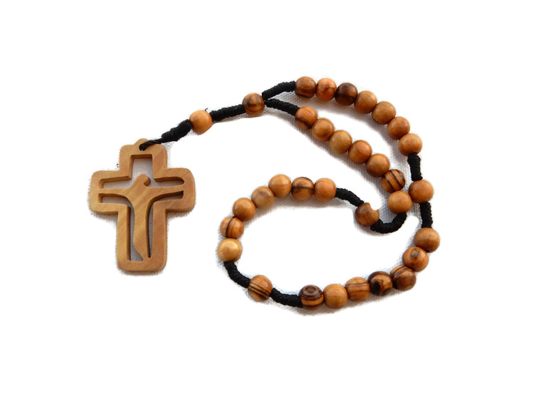 Olive Wood Anglican Rope Rosary with Cross with Cut-Out of Christ – Premium Quality – Genuine HJW - Exclusive Design