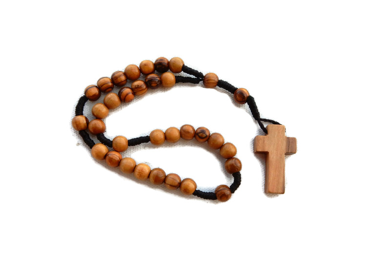 OLIVE WOOD ROSARY WITH A SMALL PLAIN CROSS
