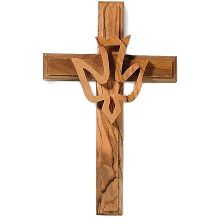 Olive Wood Dove Cross Holy Spirit Christian