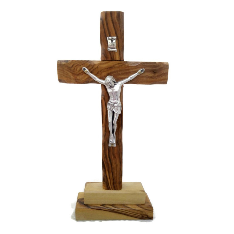 olive wood standing table altar crucifix christian jesus bethlehem