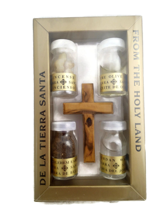Small Cross with 4 Biblical Essences in Vials