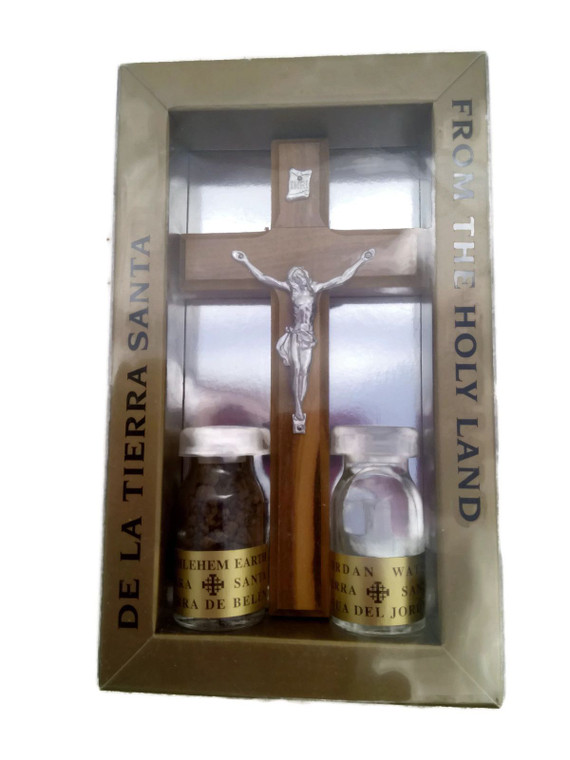 Crucifix with 2 Biblical Essences in Vials HJW