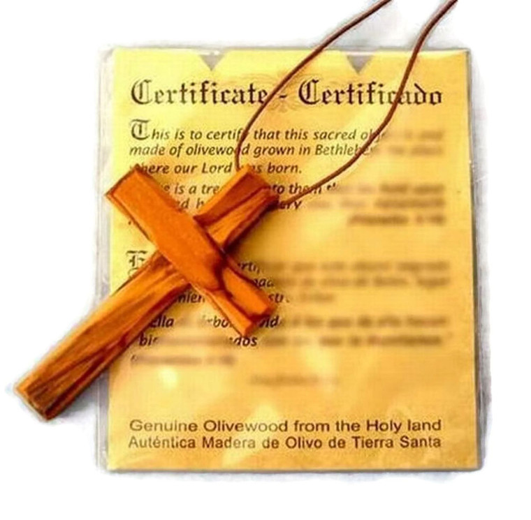 Olive Wood Pendant | Large Deluxe Cross Design  | HJW