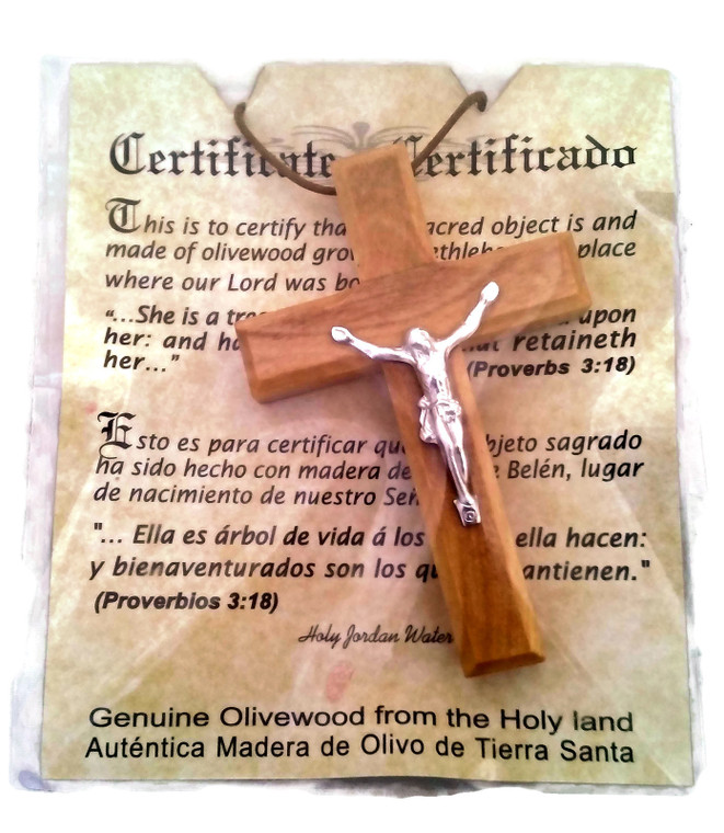 Olive Wood Pendant | Large Deluxe Crucifix  Cross Design |  Handcrafted in Holyland | HJW