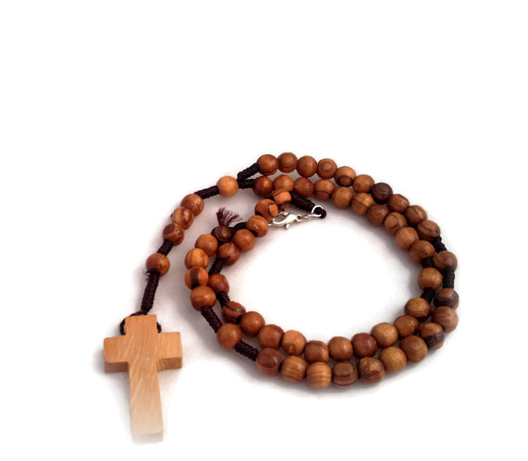 Olive Wood Cross Rosary Necklace
