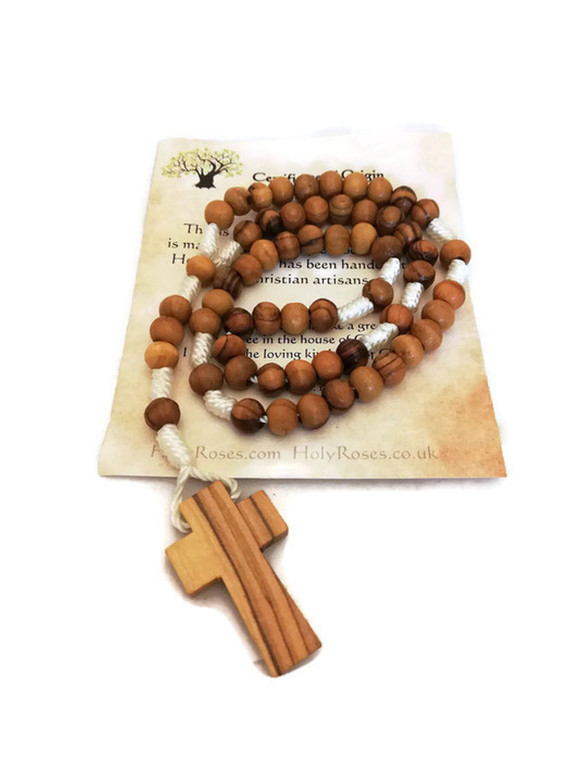 Olive Wood Rope Rosary with Cross - 2 Sizes, 2 Colors, Optional Pouch