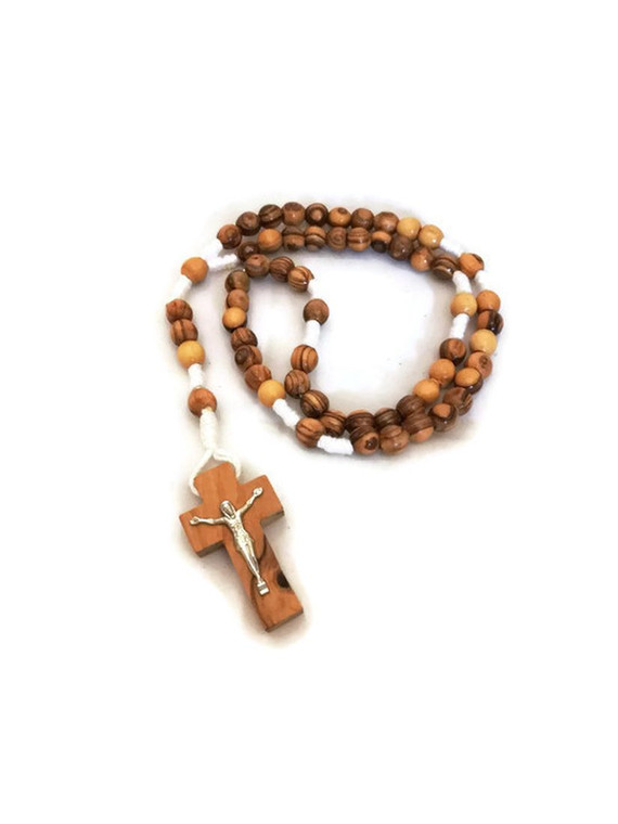 Olive Wood Rope Rosary with Crucifix