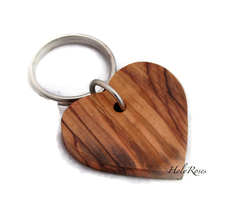 Olive Wood Christian Heart Keyring Design HJW