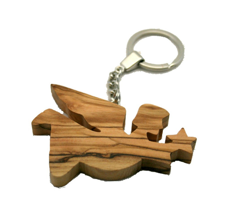 Flying  Angel with Star Olive Wood Keyring