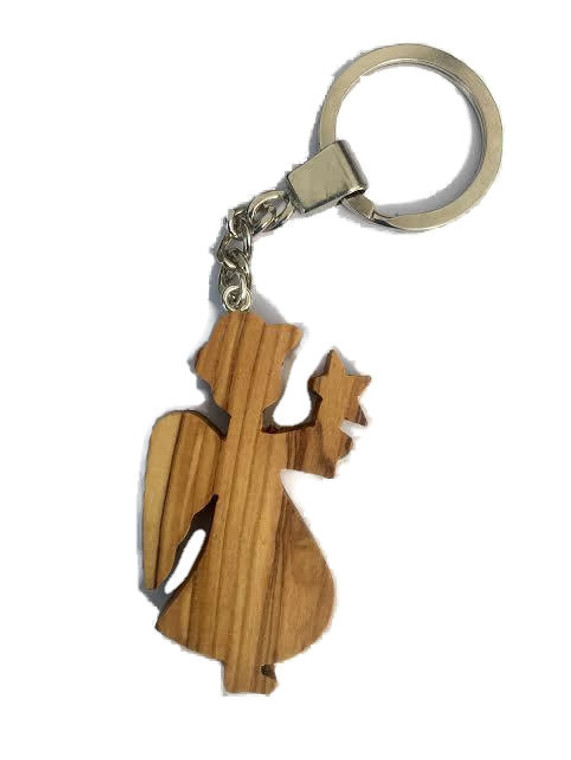 Angel with Star Olive Wood Keyring