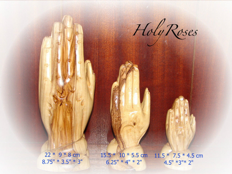 Praying Hands Statue - Hand Carved Olive Wood