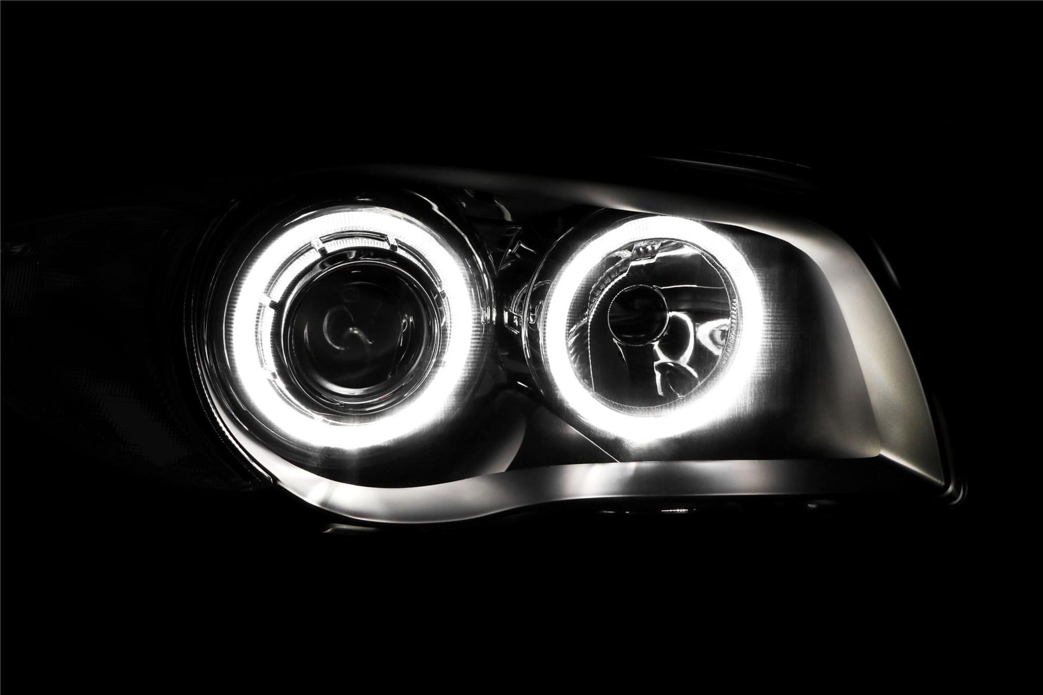 Angel Eyes Headlights Set Black Bmw 1 Series E87 04 06