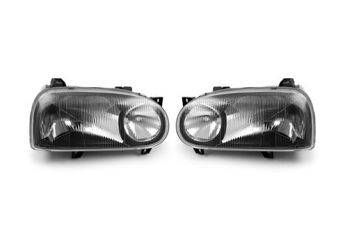Headlight set black twin reflector Volkswagen Golf MK3 92-97