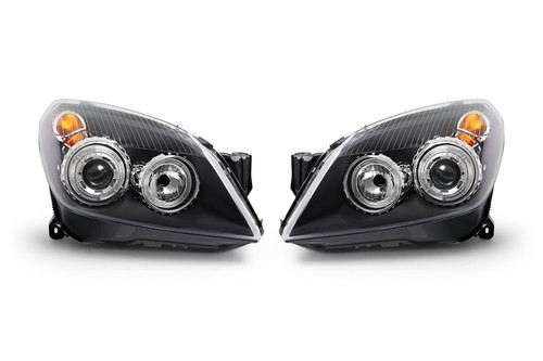 Angel eyes headlight set black Vauxhall Astra H MK5 04-10