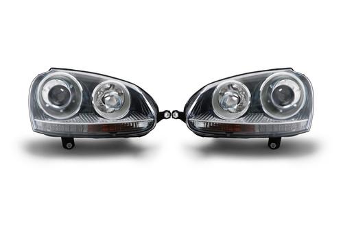 Headlight set projector xenon look black VW Golf MK5 03-07