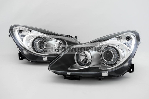 Angel eyes headlights set black Vauxhall Corsa D 06-11